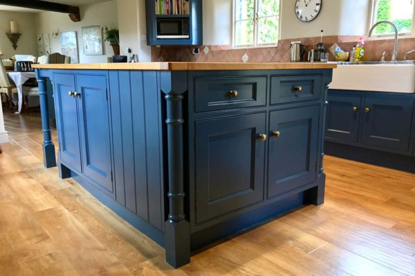 dark blue kitchen island respray