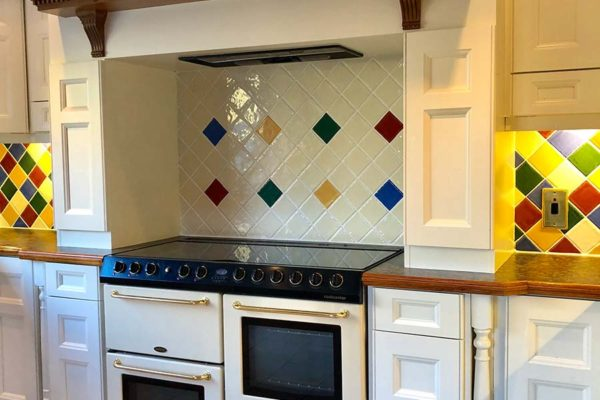 eyecatching tile oven in kitchen
