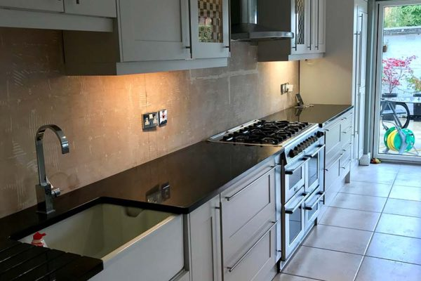 matte grey kitchen cupboards and oven