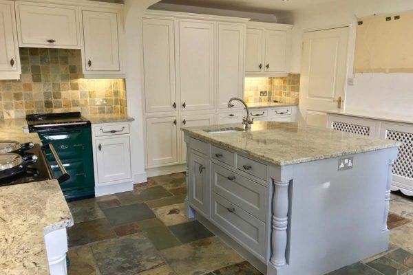 kitchen island and surrounding kitchen